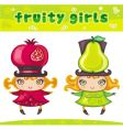 fruity girls series 2 pomegranate pear vector image vector image