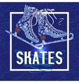 Decorative ice skates doodle stile icon vector image