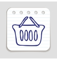 Doodle Shopping Basket icon vector image