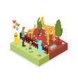 cage with giraffes isometric 3d icon vector image