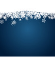 christmas blue background with white snowflakes vector image