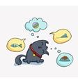 Cute cartoon cat and speach bubbles vector image