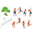 figures of people when playing volleyball beach vector image