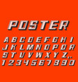 poster 3d font numbers and letters retro style vector image