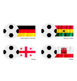 Soccer Ball with Germany Ghana Georgia and Gibra vector image