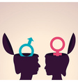 thinking concept-Human head with male and female vector image