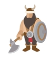 Viking stand with shield character vector image