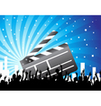 clapper and crowd on blue background vector image vector image