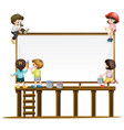 many children painting the board vector image