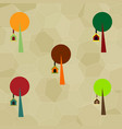 set of trees with bird house vector image
