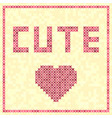 cross-stitched rose heart cute title vector image