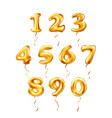 golden number 1 2 3 4 5 6 7 8 9 0 metallic vector image