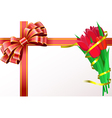 Red tulips with yellow ribbon and red bow are on vector image vector image