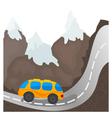 Cartoon bus on a mountain road vector image