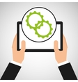 hand holds tablet settings technology icon vector image