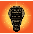 Light bulb with words related to light vector image