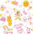 Seamless pattern of pink clothing toy and stuff vector image