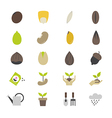 Seeds and Gardening Flat Color Icons vector image