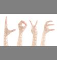 Set female hands gestures making word LOVE vector image