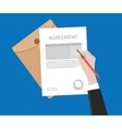 sign agreement contract on paper document with vector image