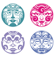 Set of polynesian tattoo styled masks vector image