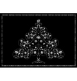 White tracery Christmas tree with snowflakes vector image