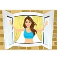 attractive woman opening her room s windows vector image