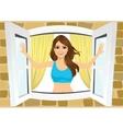 attractive woman opening her room s windows vector image