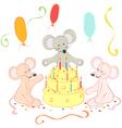 Birthday animals card vector image