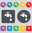 faucet icon sign A set of 12 colored buttons Flat vector image