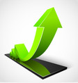 Green arrow business graphs vector image