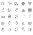Logistics line icons with reflect on white vector image