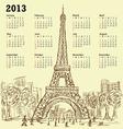 vintage hand drawn of eifel tower 2013 calendar vector image
