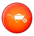 Wheelbarrow with sand icon flat style vector image