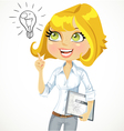 Girl with a electronic tablet idea inspiration vector image vector image