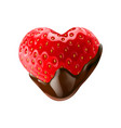 strawberry in chocolate dipping on white vector image