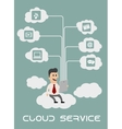 Businessman enjoying cloud computing vector image vector image