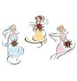 Romantic brides in colorful wedding dresses vector image