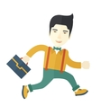Chinese Buisnessman walking with his briefcase vector image
