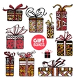 Holiday presents boxes set color doodle vector image