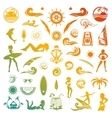 Summer Icons and Silhouettes in Retro Style vector image vector image