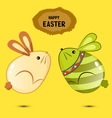 Cute bunny Easter eggs jumping vector image