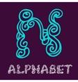 Doodle hand drawn sketch alphabet Letter N vector image