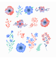 Floral Set of Beautiful Flowers and Leaves vector image
