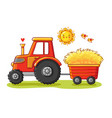 tractor with a cart vector image
