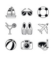 white background with monochrome icons beach vector image