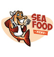 smiling fish seafood restaurant mascot vector image