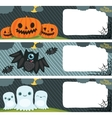 Happy Halloween card set with pumpkin bat ghost vector image