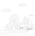 house in forest contours vector image vector image