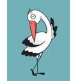 Bird Stork Flat Design Character vector image
